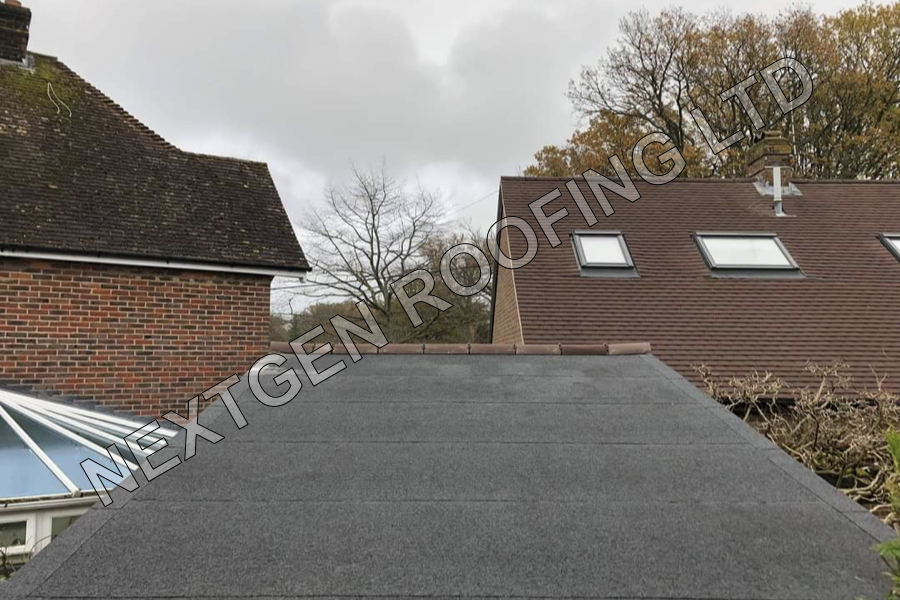 Torch-On Felt Garage Flat Roof Replacement in Horsham February 2021 by NextGen Roofing Ltd - Roofing Contractors in Sussex
