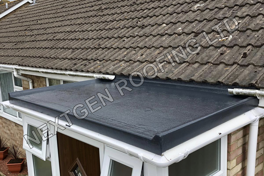 GRP Flat Roof Installation on a New Porch in Rustington April 2021 by NextGen Roofing Ltd - Roofing Contractors in Sussex